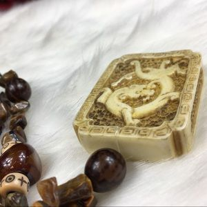 Jewelry - Double-sided Carved Bone & Stone Necklace